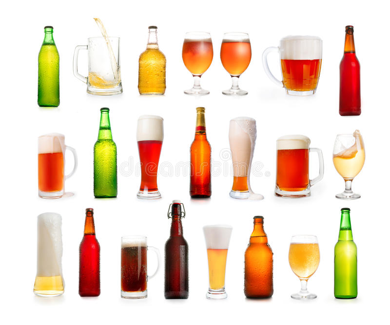 Different types of beer in glasses and bottles isolated on white stock photo