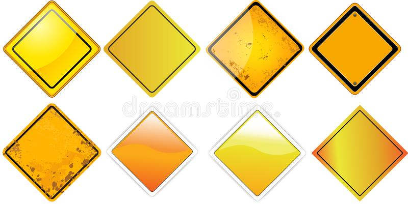 Yellow traffic sign blank boards square vector illustration