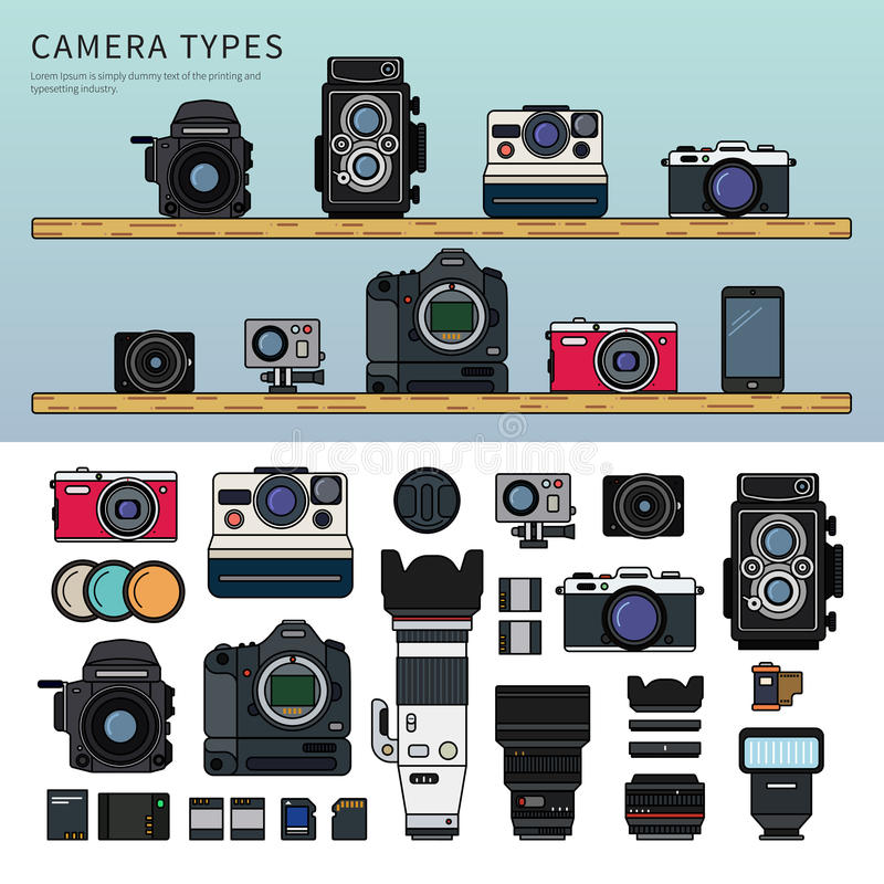 Different Types Of Camera Stock Vector Illustration Of