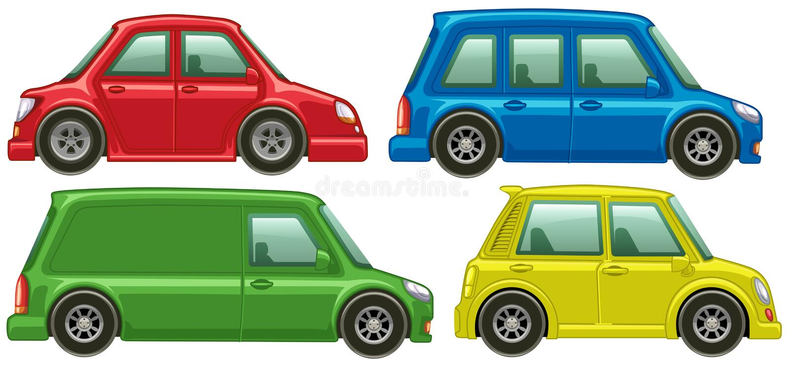 Different types of cars in four colors royalty free illustration