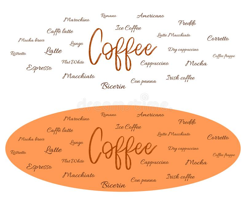 Different types of coffee - banner vector illustration