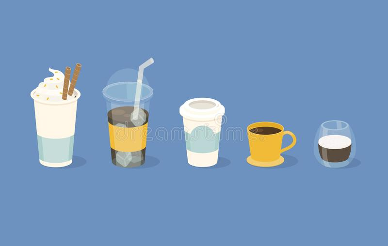 Different types of coffee in  paper and glass cup. Vector illustration stock illustration
