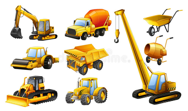 Different types of construction trucks royalty free illustration