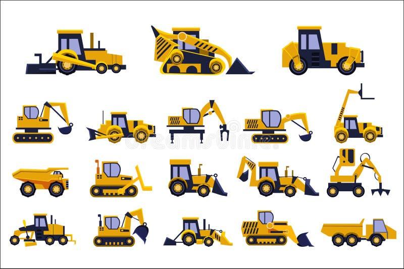 Different types of construction trucks set, heavy equipment, construction vehicles vector Illustrations on a white. Different types of construction trucks set vector illustration