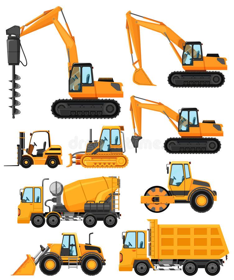 Different types of construction vehicles stock illustration