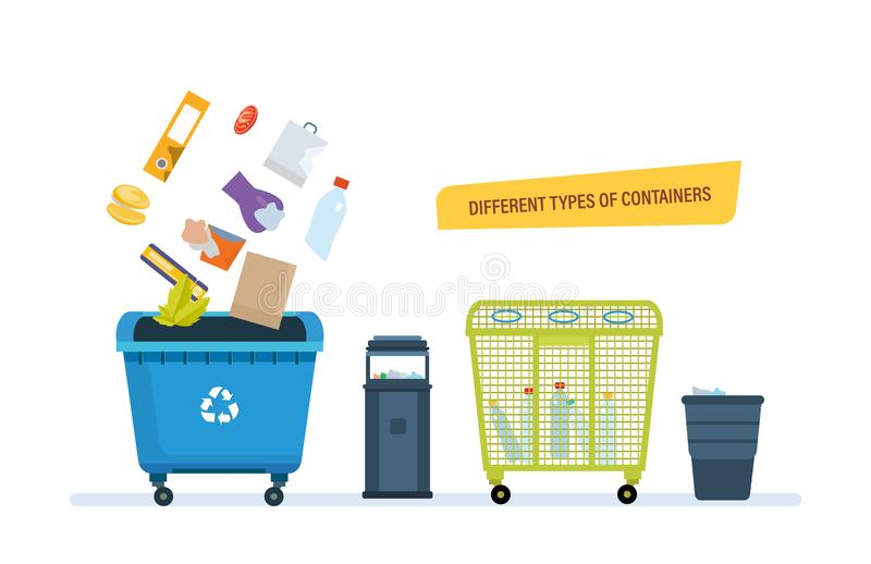 Different types containers, for food waste, paper products, plastic waste. Different types of containers concept. Urns for food waste, paper products, plastic stock illustration