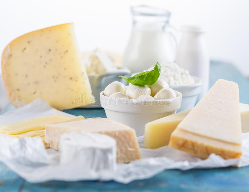Different types of dairy products stock images