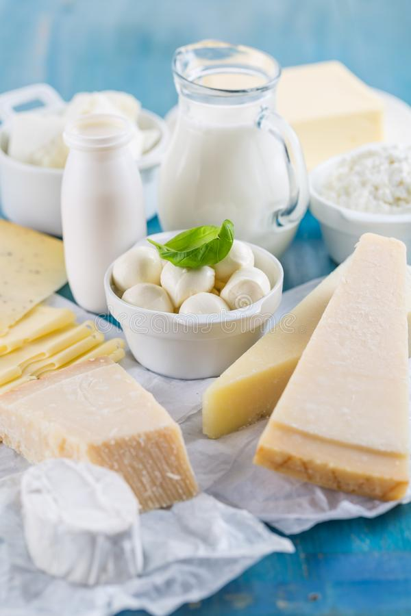 Different types of dairy products stock photo