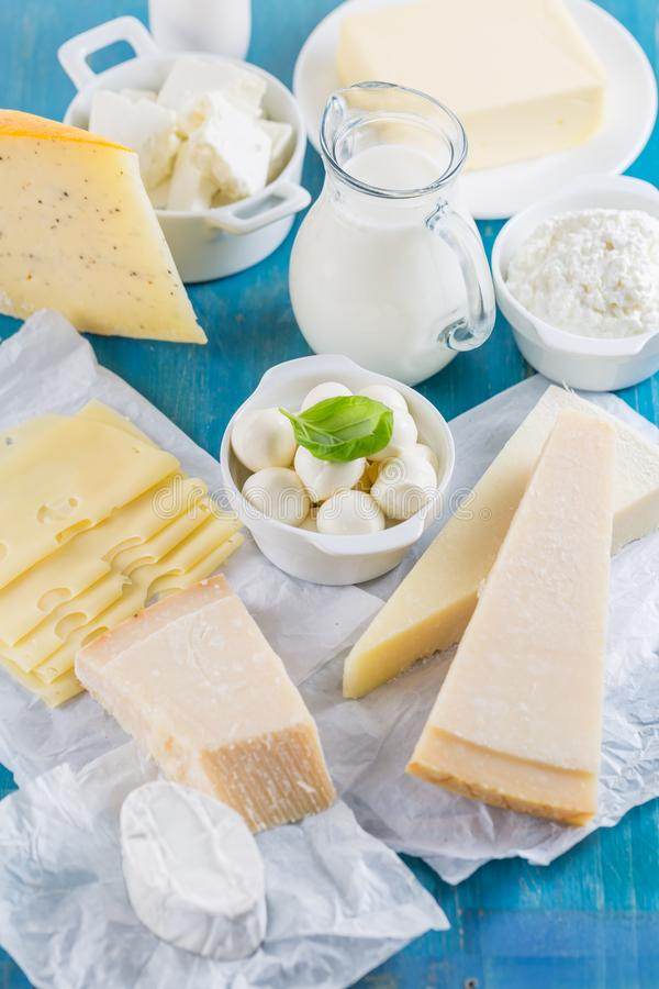 Different types of dairy products stock photography