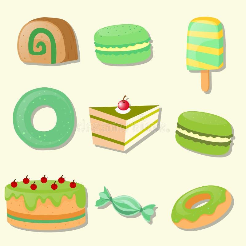 Different types of desserts. Illustration stock illustration