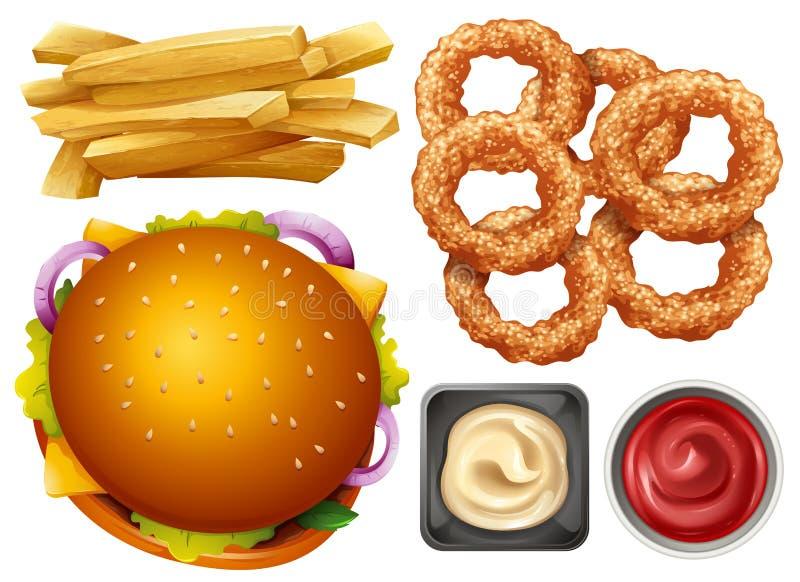 Different types of fastfood on white background. Illustration stock illustration