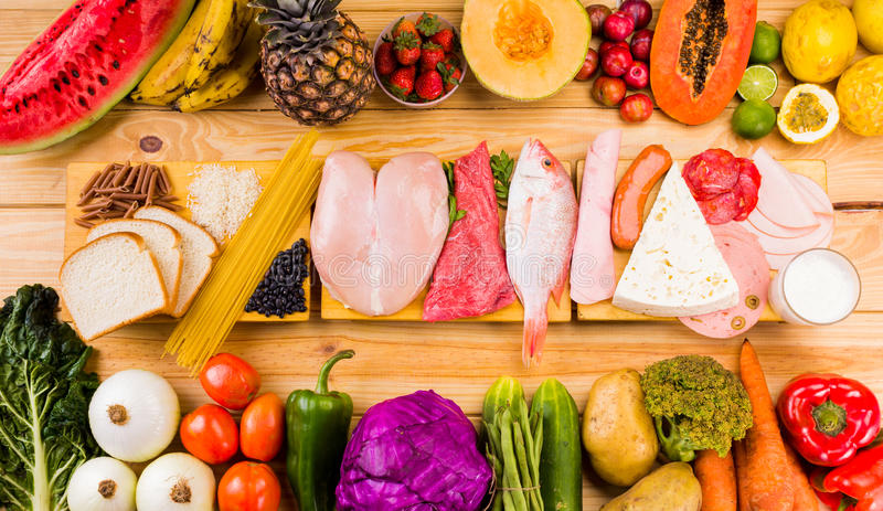 Different types of foods royalty free stock photography