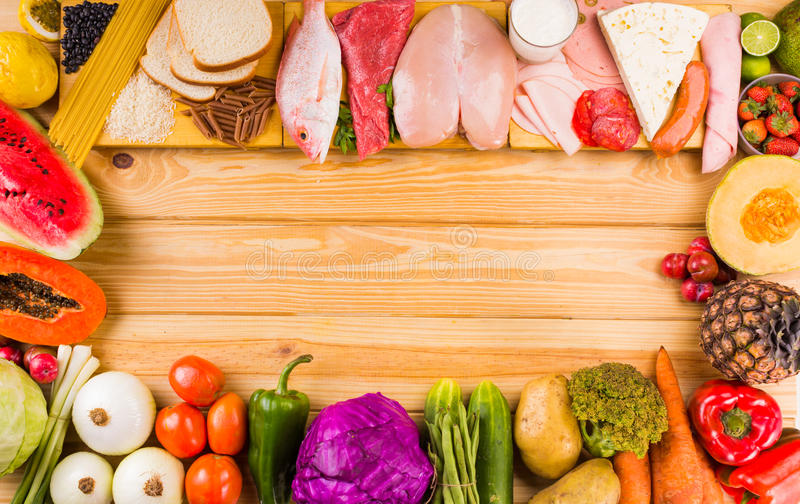 Different types of foods stock photography