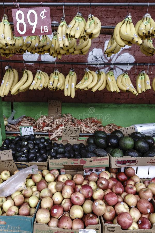 Different types of fresh fruit in a market stock photos