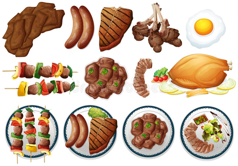 Different types of grilled food. Illustration vector illustration