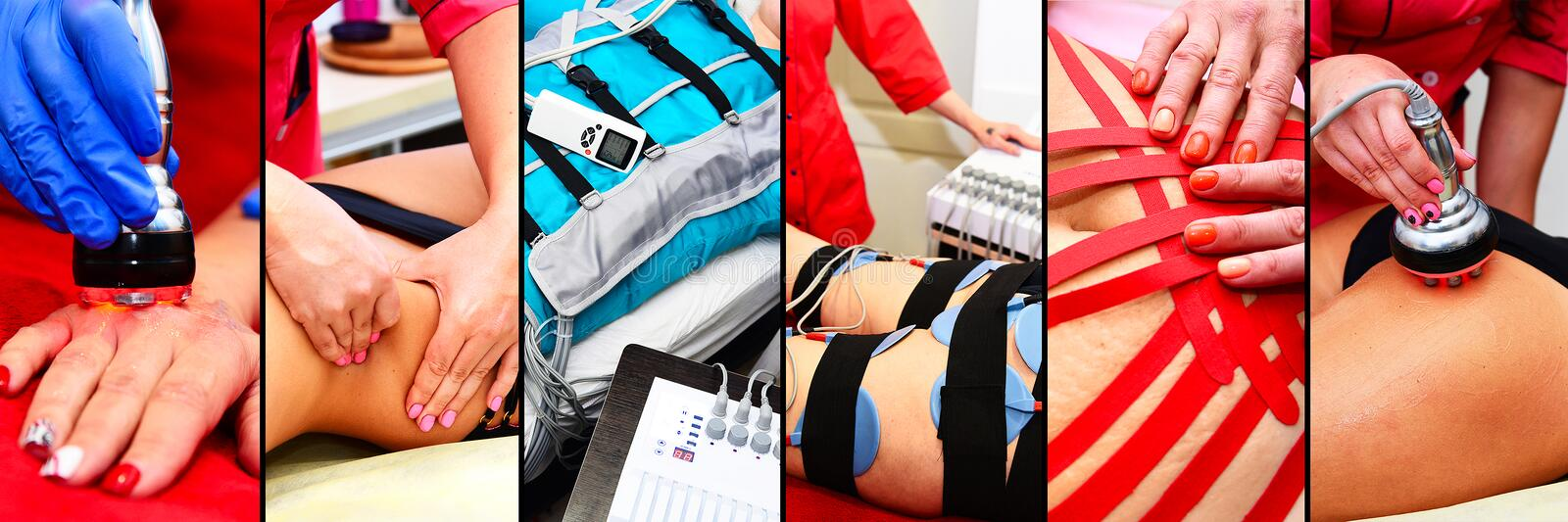 Different types of hardware spa procedures for cellulite reduction and weight loss. Myostimulation, vacuum massage, lipolaser, rad. Iofraction lifting. Collage stock photos
