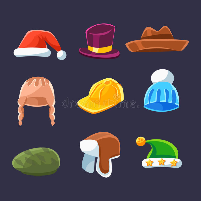 Different Types Of Hats And Caps, Warm And Classy For Kids And Adults Serie Of Cartoon Colorful Vector Clothing Items. Winter And Autumn Male Headpieces In stock illustration