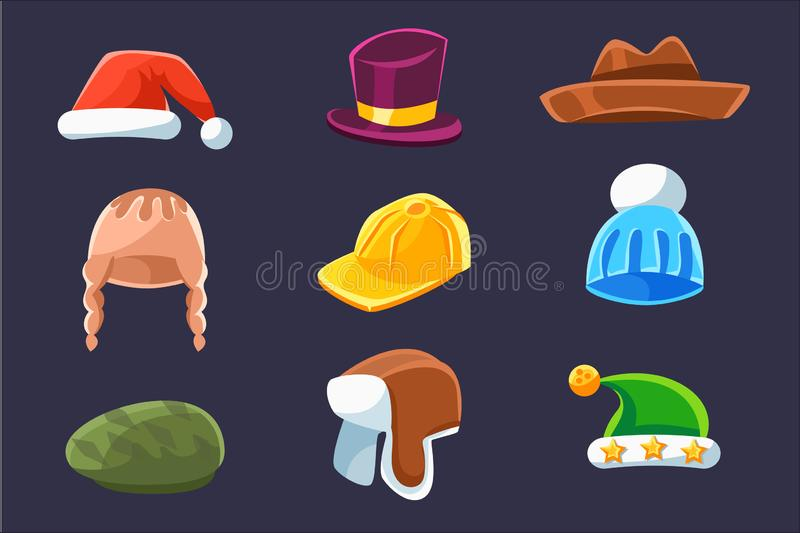 Different Types Of Hats And Caps, Warm And Classy For Kids And Adults Serie Of Cartoon Colorful Vector Clothing Items. Winter And Autumn Male Headpieces In vector illustration