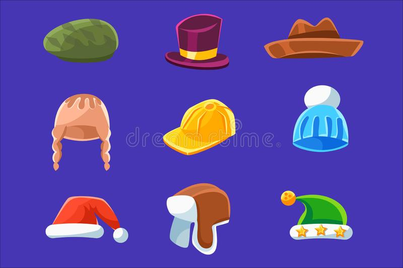 Different Types Of Hats And Caps, Warm Classy For Kids Adults Set Cartoon Colorful Vector Clothing Items. Different Types Of Hats And Caps, Warm And Classy For royalty free illustration