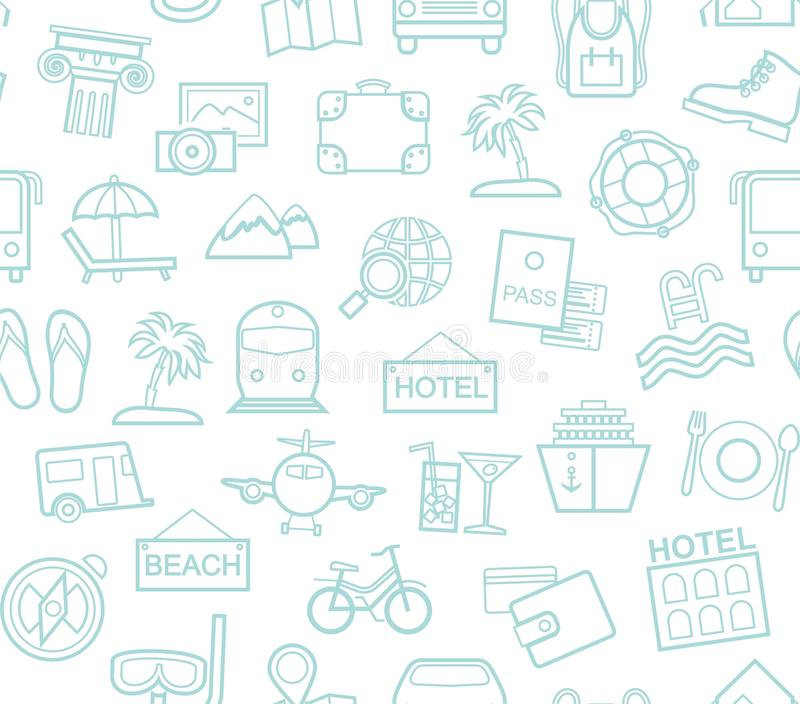 Travel, vacation, tourism, recreation, seamless pattern, outline, white, blue, vector. Different types of holidays and ways of travelling. Vector, color royalty free illustration