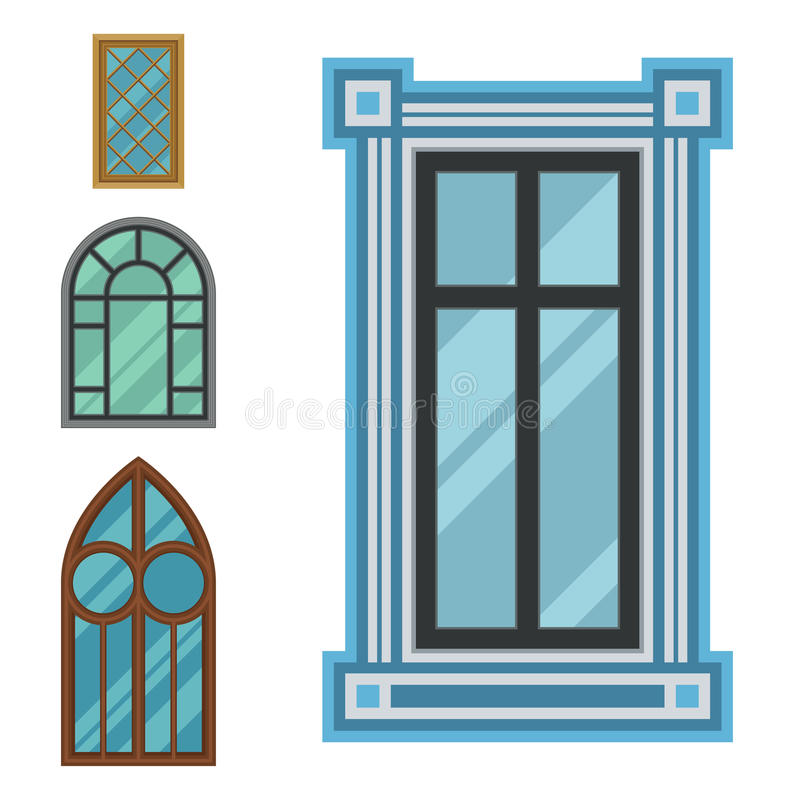 Different types house windows elements flat style frames for Different types of house windows