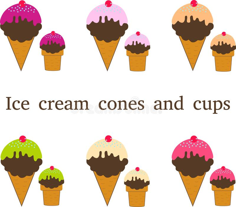 Download Different Types Of Ice Cream Stock Image - Illustration of cups, cones: 115522295