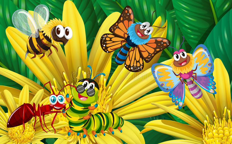 Different types of insects on yellow flower stock vector download different types of insects on yellow flower stock vector illustration of flying animal mightylinksfo