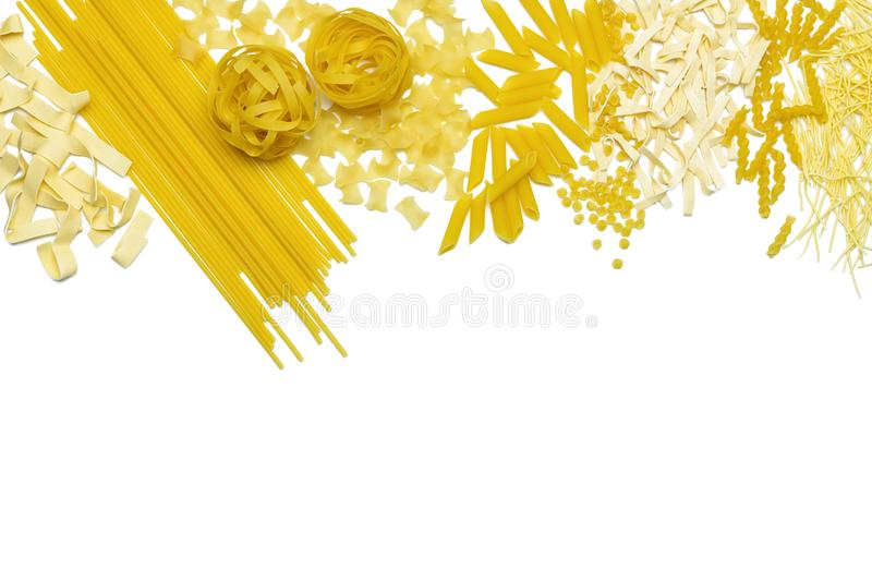 Different types of Italian pasta are laid out in the form of a frame. stock images