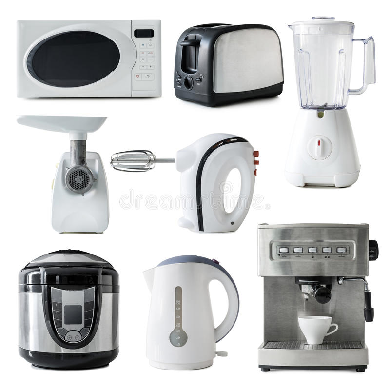 Different Types Of Kitchen Appliances Collage Stock Image - Image of ...