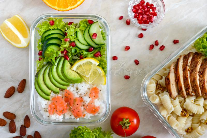 Different types of lunch boxes. Top view, flat lay. Delicious healthy lunch. The concept of healthy eating royalty free stock photos