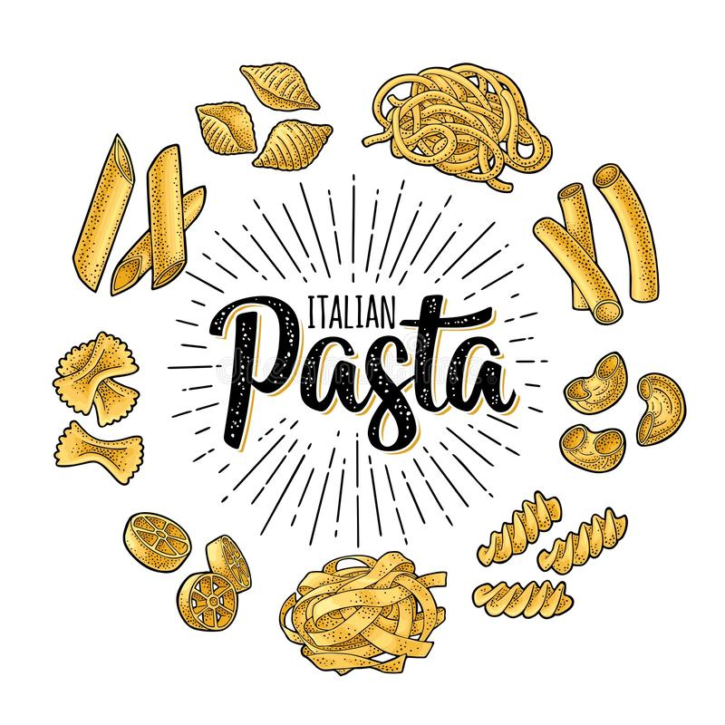 Different types macaroni and ITALIAN PASTA lettering. Vector engraving vector illustration