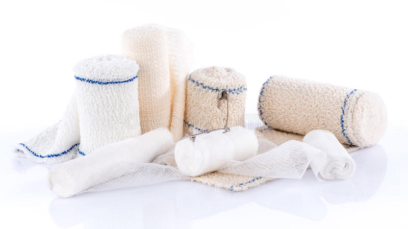 Different types of medical bandages. Isolated on white royalty free stock photography