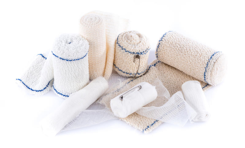 Different types of medical bandages. Isolated on white royalty free stock images