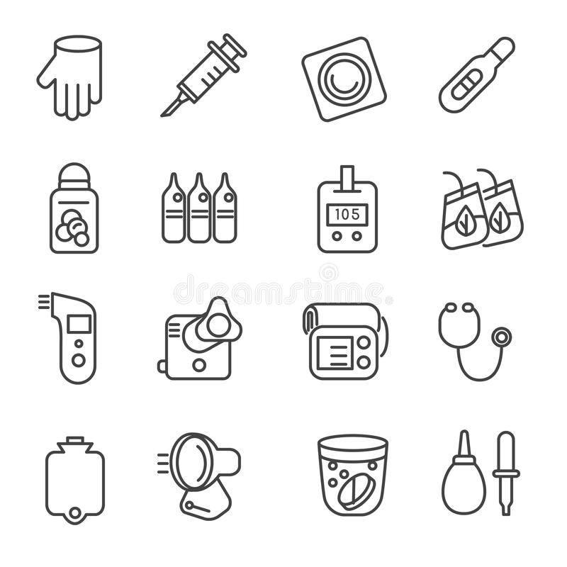 Different types of medicines and medical tools as line icons. Icons of medical tools like stethoscope, thermometer, and nebulizer vector illustration