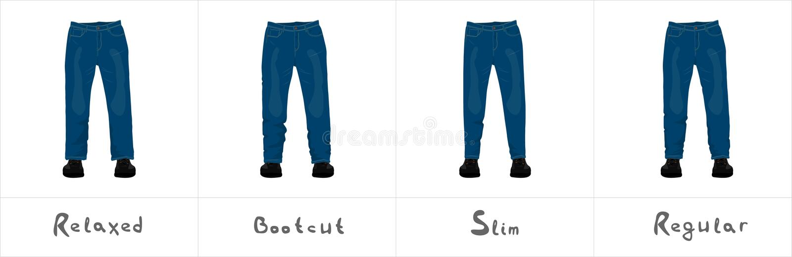 Different types of men`s blue jeans front view isolated on white stock illustration