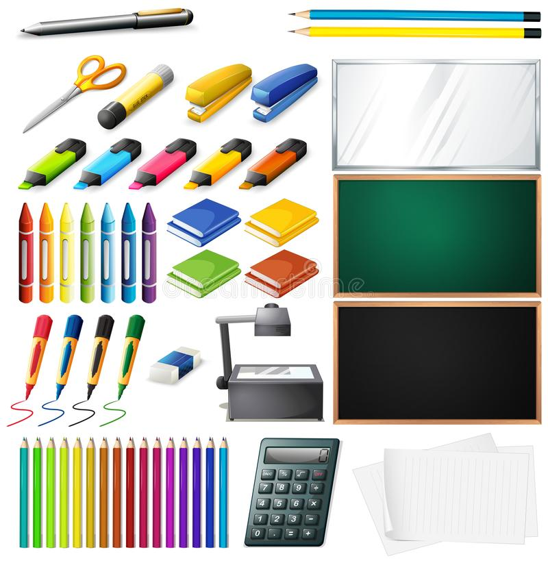 Different types of office supplies royalty free illustration