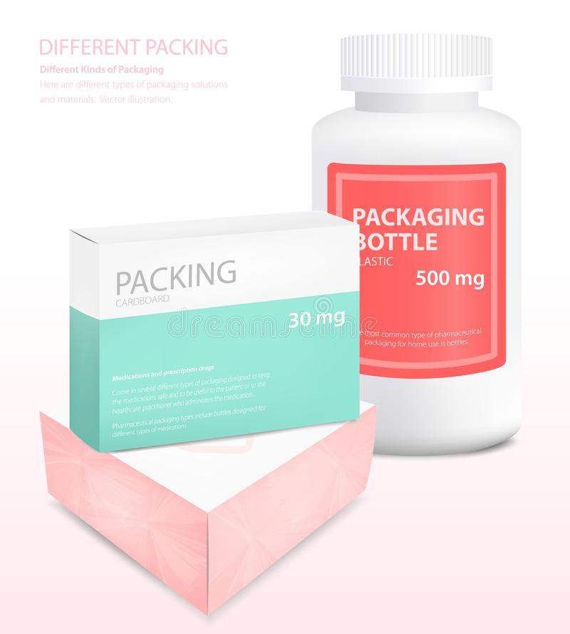 Different types of packaging, box, jar, vector stock illustration