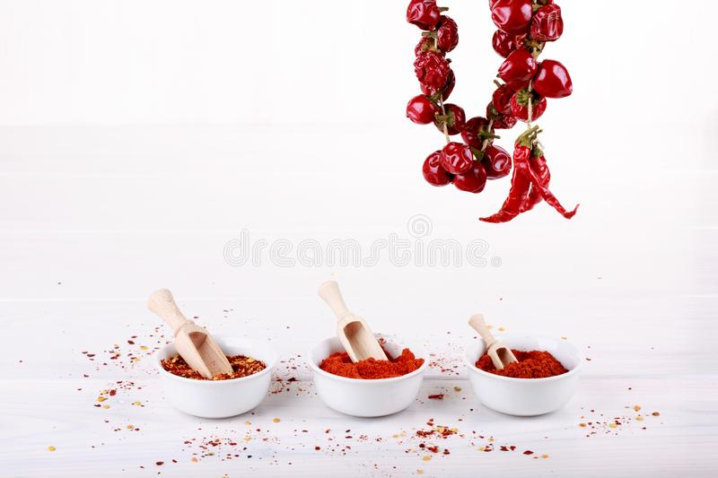 Different types of paprika. On white. Sweet paprika powder, red hot chili pepper flakes, smoked paprika, pepper pods. Copy space stock photography