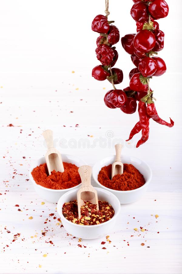 Different types of paprika. On white. Sweet paprika powder, red hot chili pepper flakes, smoked paprika, pepper pods. Copy space royalty free stock image