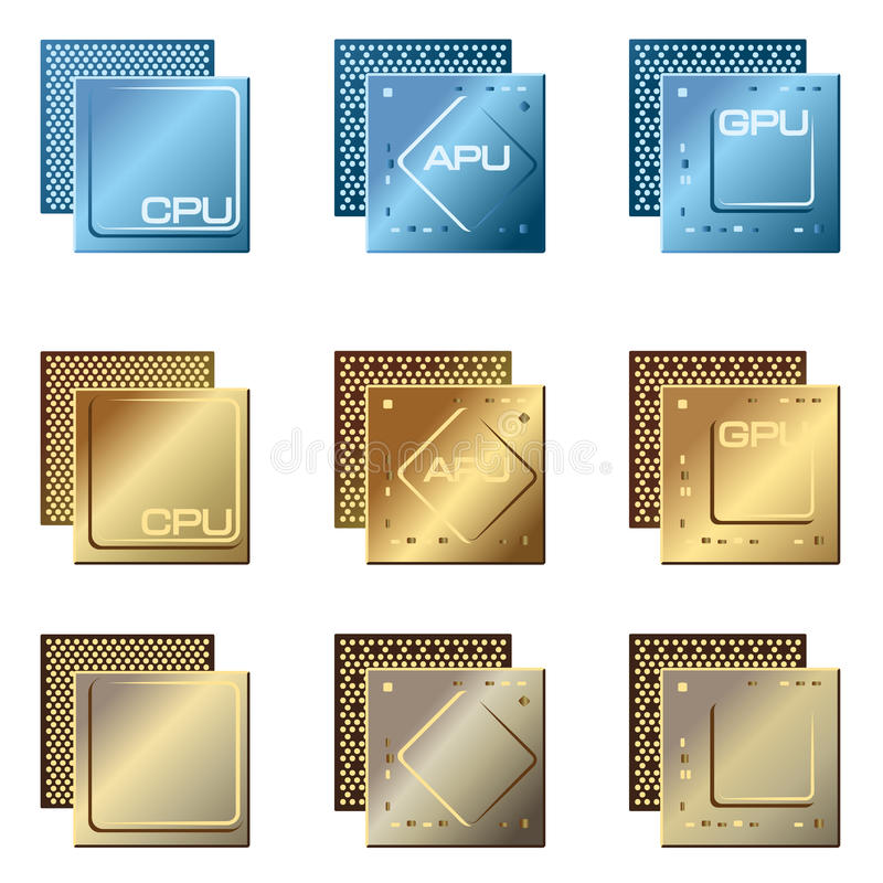 Different types of processors vector illustration