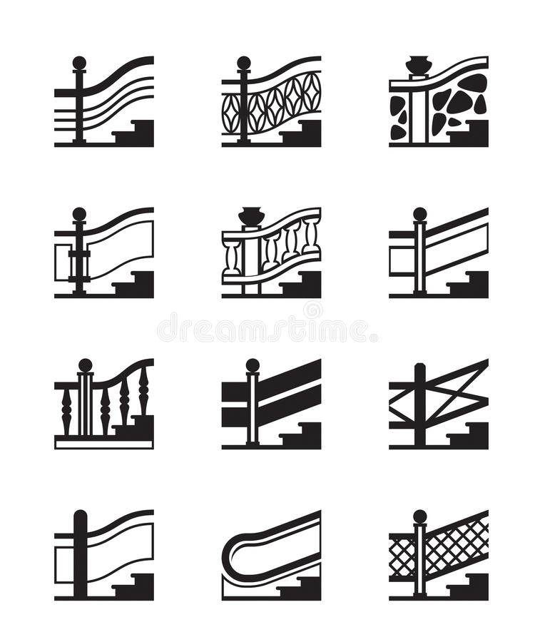 Different Types Of Railings Stock Vector