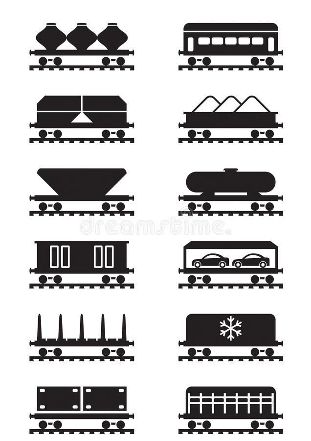 Download Different Types Of Railway Wagons Royalty Free Stock Photography - Image: 34124777