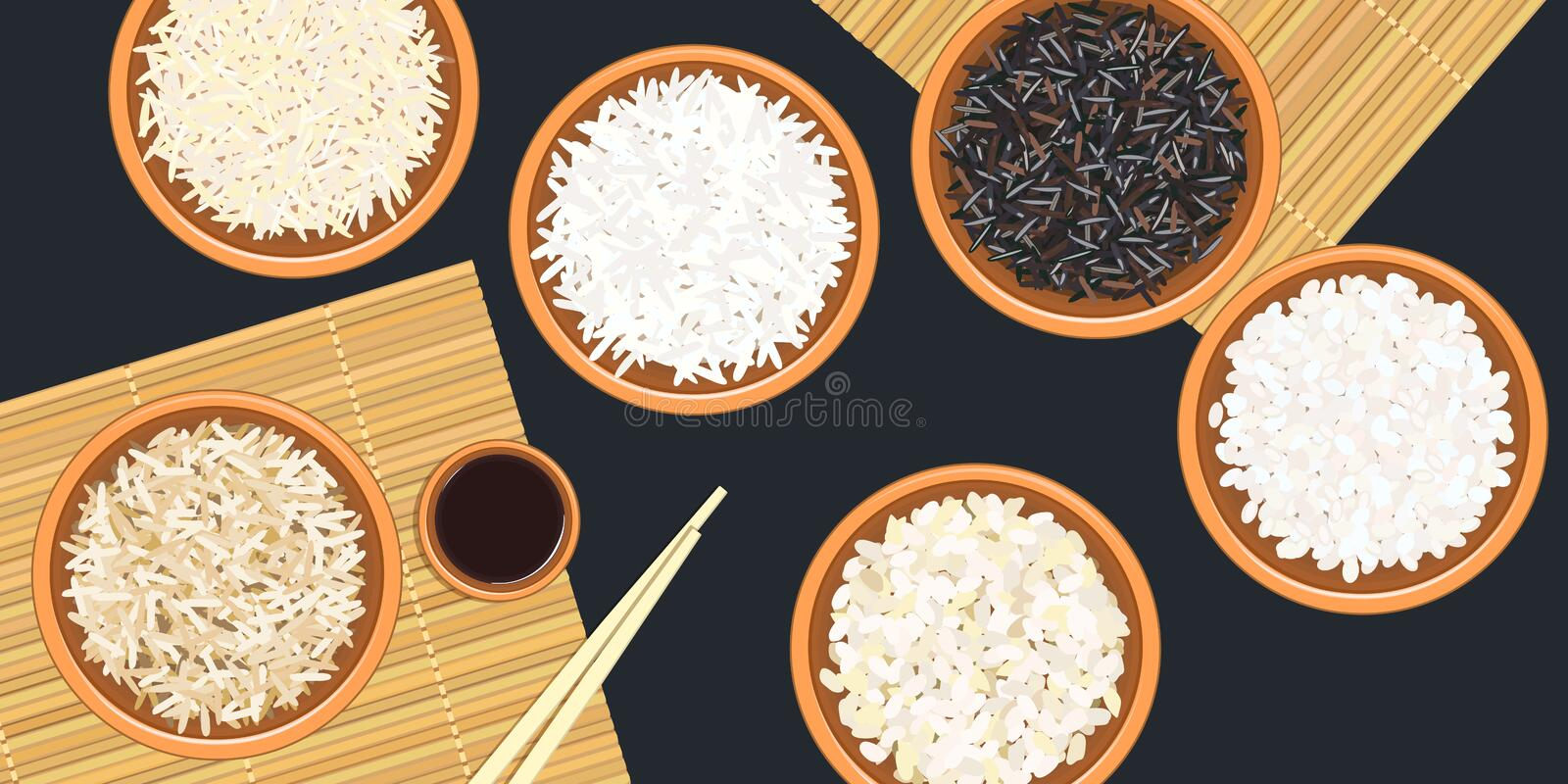 Different types of rice in ceramic bowls. Basmati, wild, jasmine, long brown, arborio, sushi. chopsticks. Kitchen bamboo mat vector illustration