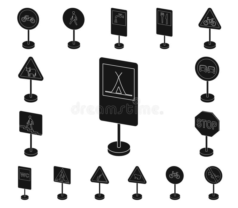 Different types of road signs black icons in set collection for design. Warning and prohibition signs vector symbol. Stock illustration vector illustration
