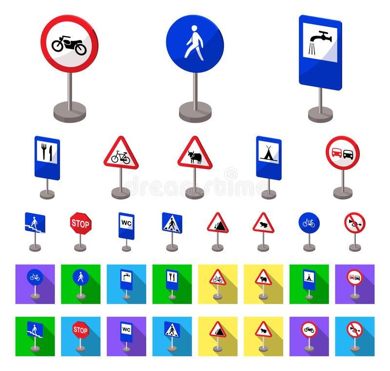 Different types of road signs cartoon,flat icons in set collection for design. Warning and prohibition signs vector. Symbol stock illustration royalty free illustration