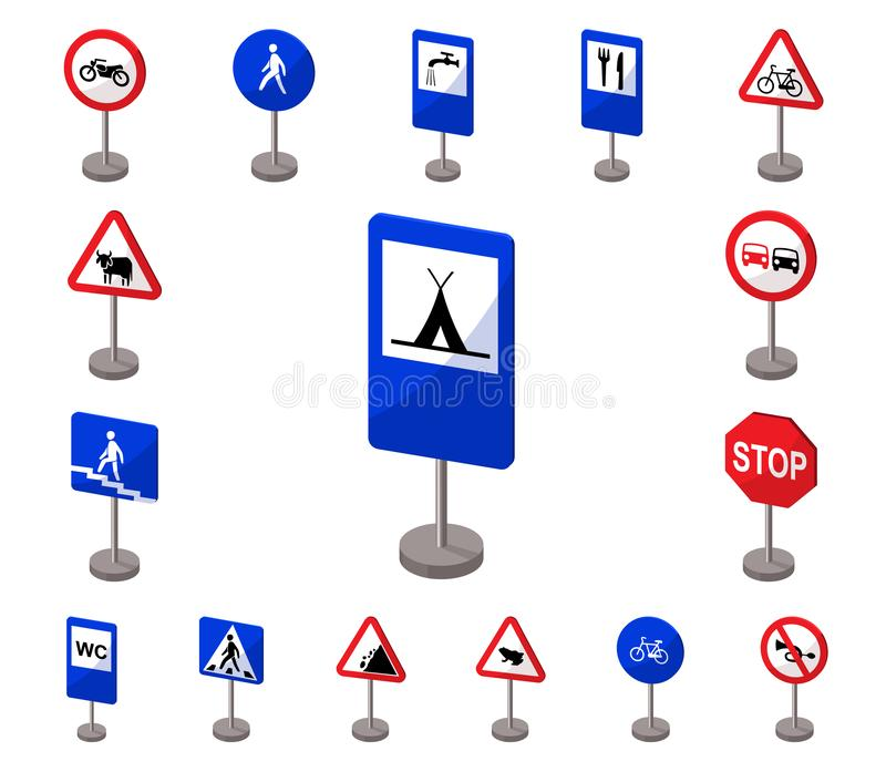 Different types of road signs cartoon icons in set collection for design. Warning and prohibition signs vector symbol. Stock illustration royalty free illustration