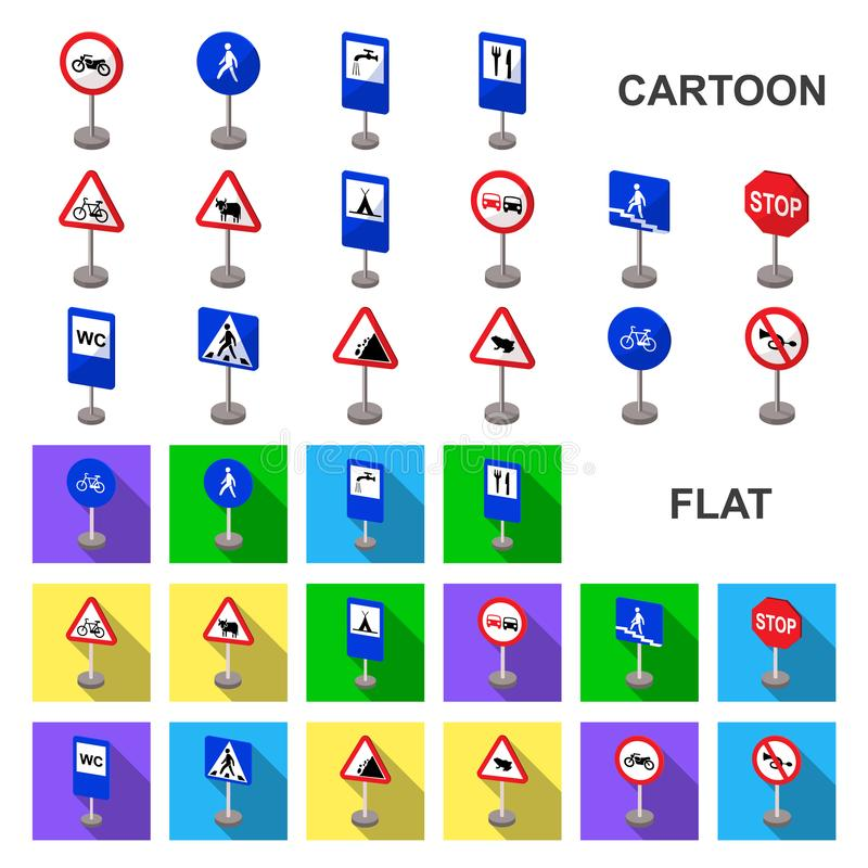 Different types of road signs cartoon icons in set collection for design. Warning and prohibition signs vector symbol. Stock illustration vector illustration