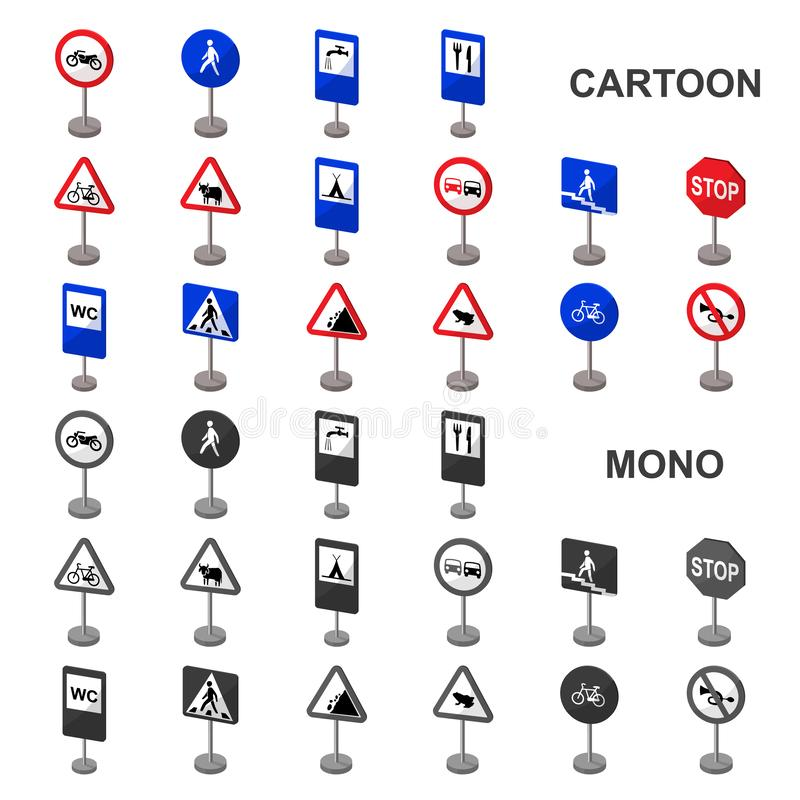 Different types of road signs cartoon icons in set collection for design. Warning and prohibition signs vector symbol. Stock illustration stock illustration