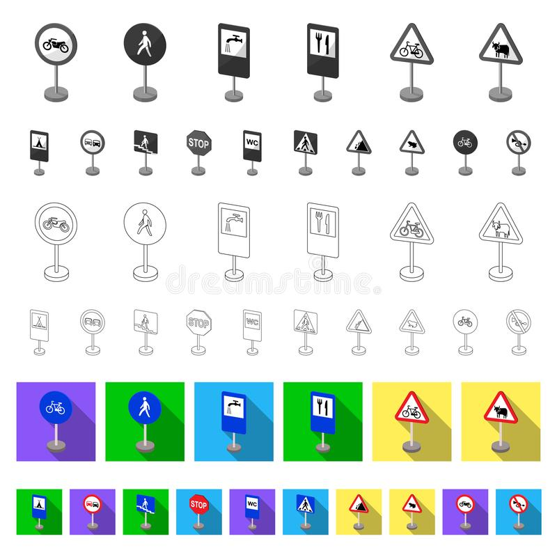 Different types of road signs flat icons in set collection for design. Warning and prohibition signs vector symbol stock. Illustration vector illustration