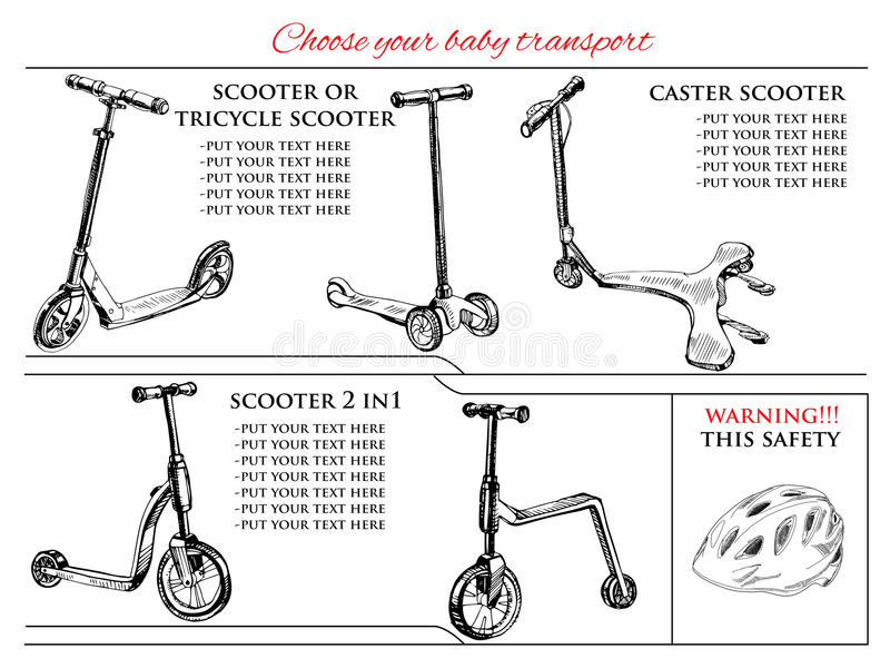 Different types scooters and balance bike. Vector illustration of set hand drawn different types scooters and balance bike. Hand drawn template royalty free illustration